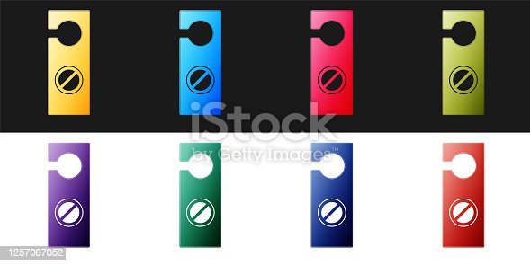 istock Set Please do not disturb icon isolated on black and white background. Hotel Door Hanger Tags. Vector 1257067052