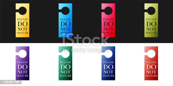 istock Set Please do not disturb icon isolated on black and white background. Hotel Door Hanger Tags. Vector 1264827567