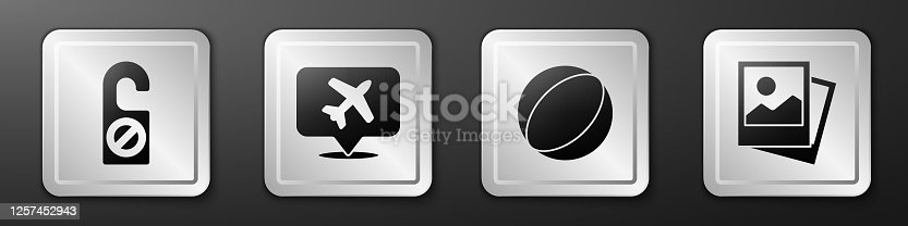 istock Set Please do not disturb, Speech bubble with airplane, Beach ball and Photo icon. Silver square button. Vector 1257452943