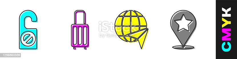 istock Set Please do not disturb, Suitcase, Globe with flying plane and Map pointer with star icon. Vector 1256860339