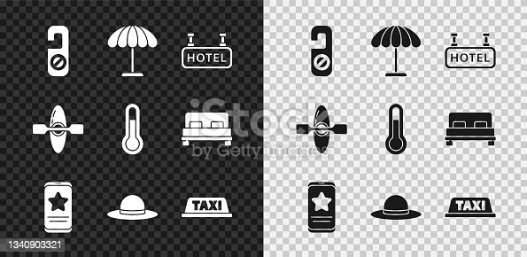 istock Set Please do not disturb, Sun protective umbrella for beach, Signboard with text Hotel, Mobile review rating, Elegant women hat, Taxi car roof, Kayak canoe and Meteorology thermometer icon. Vector 1340903321