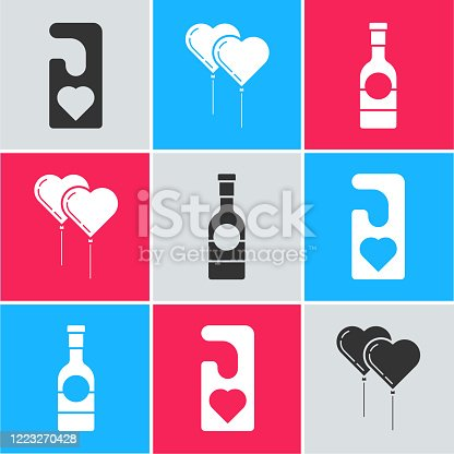 istock Set Please do not disturb with heart, Balloons in form of heart with ribbon and Champagne bottle icon. Vector 1223270428