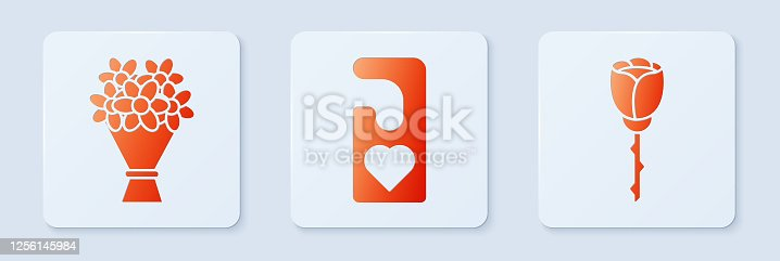 istock Set Please do not disturb with heart, Bouquet of flowers and Flower rose. White square button. Vector 1256145984