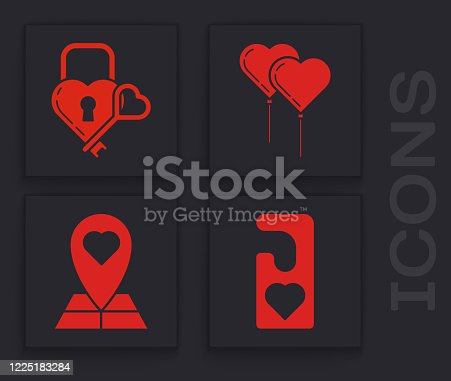 istock Set Please do not disturb with heart, Castle in the shape of a heart and key, Balloons in form of heart with ribbon and Map pointer with heart icon. Vector 1225183284