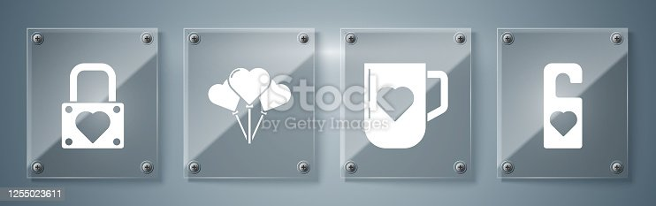 istock Set Please do not disturb with heart, Coffee cup and heart, Balloons in form of heart and Lock and heart. Square glass panels. Vector 1255023611