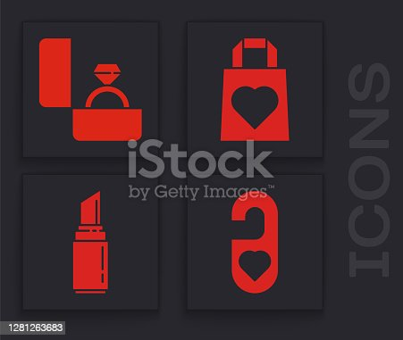 istock Set Please do not disturb with heart, Diamond engagement ring, Shopping bag with heart and Lipstick icon. Vector 1281263683