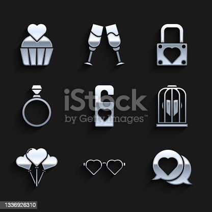istock Set Please do not disturb with heart, Heart shaped love glasses, in speech bubble, the bird cage, Balloons form of, Diamond engagement ring, Lock and and Wedding cake icon. Vector 1336926310