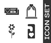 istock Set Please do not disturb with heart, Ticket with heart, Flower and Wedding arch icon. Vector 1223270401