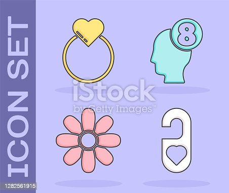 istock Set Please do not disturb with heart, Wedding rings, Flower and 8 March in human head icon. Vector 1282561915