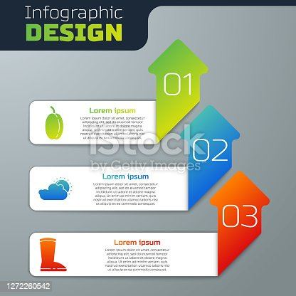 Set Plum fruit, Sun and cloud weather and Waterproof rubber boot. Business infographic template. Vector