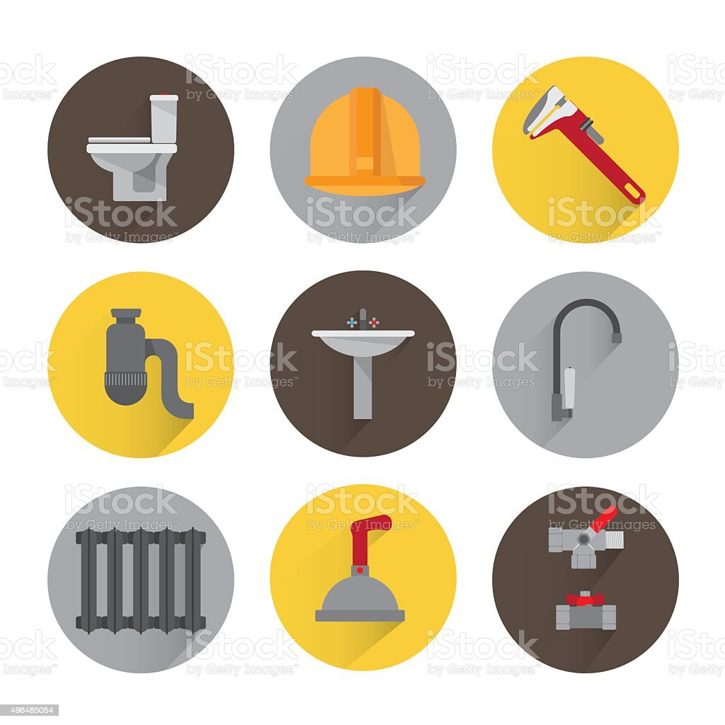 Set plumbing icons vector art illustration