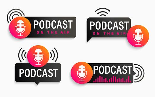 Set podcast symbols, icons with studio microphone.