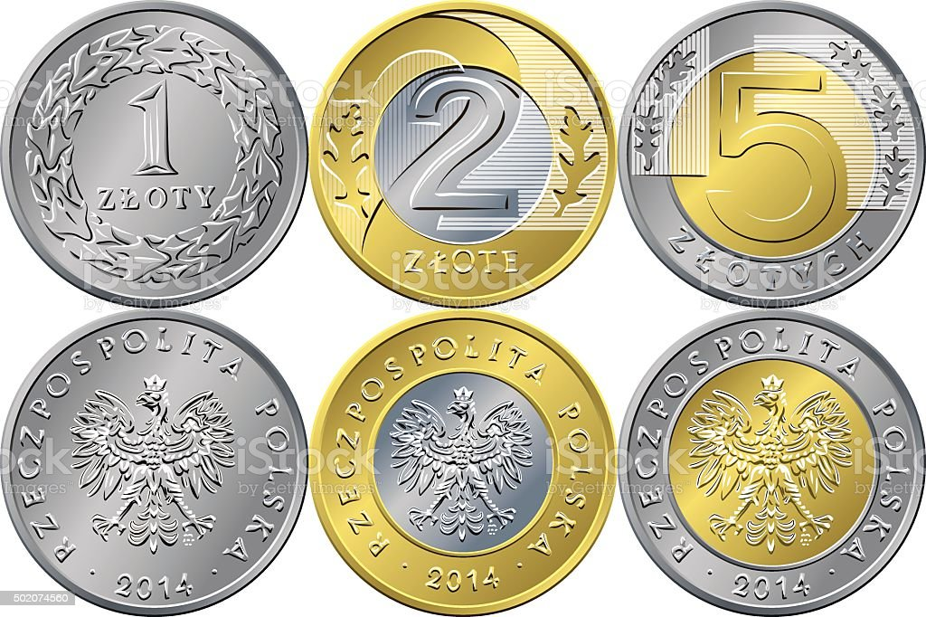 Set Polish Money one, two and five zloty coins vector art illustration