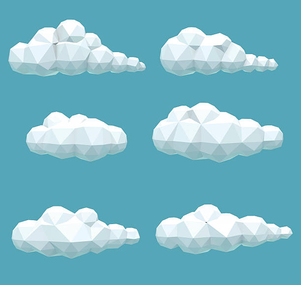 Set polygonal volumetric clouds vector set of volumetric low poly clouds low poly modelling stock illustrations