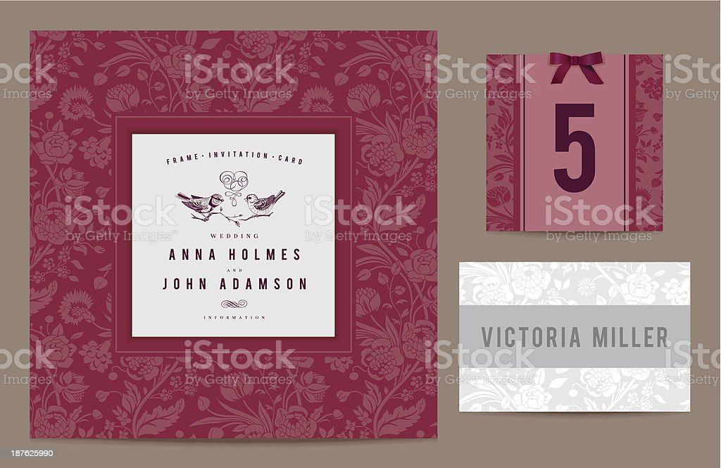 Set polygraphy to celebrate the wedding royalty-free stock vector art