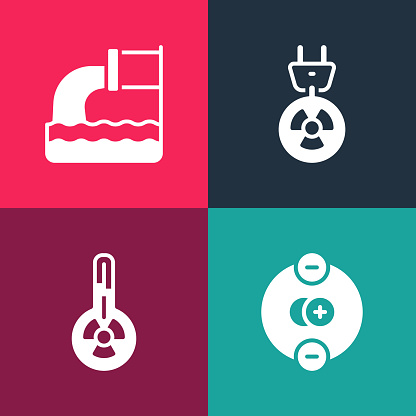 Set pop art Atom, Meteorology thermometer, Radiation electrical plug and Wastewater icon. Vector