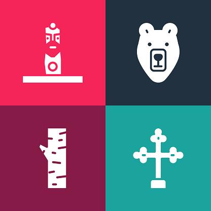 Set pop art Christian cross, Birch tree, Bear head and Slavic pagan idol icon. Vector