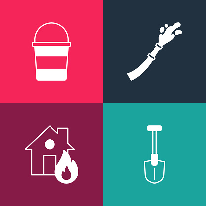 Set pop art Fire shovel, in burning house, hose reel and bucket icon. Vector