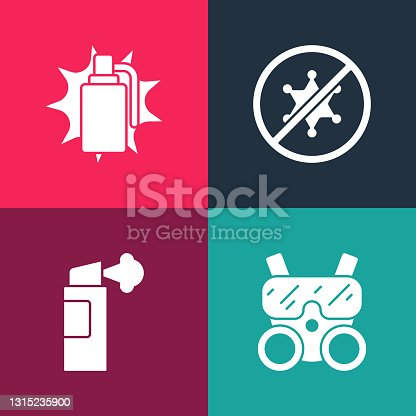 Set pop art Gas mask, Pepper spray, Protest and Hand grenade icon. Vector.