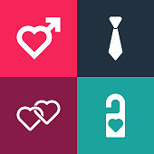 istock Set pop art Please do not disturb, Two Linked Hearts, Tie and with male gender icon. Vector 1313141399