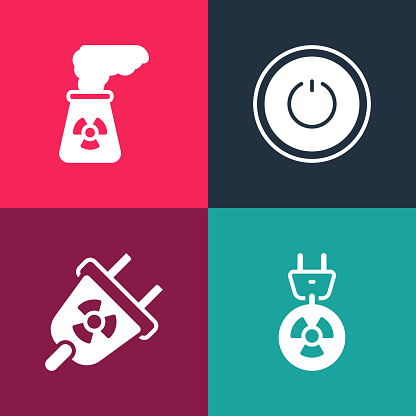 Set pop art Radiation electrical plug, , Power button and Nuclear power plant icon. Vector