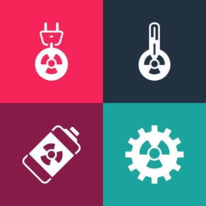 Set pop art Radioactive, Nuclear energy battery, Meteorology thermometer and Radiation electrical plug icon. Vector