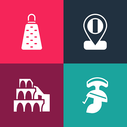 Set pop art Roman army helmet, Coliseum in Rome, Location flag Italy and Grater icon. Vector