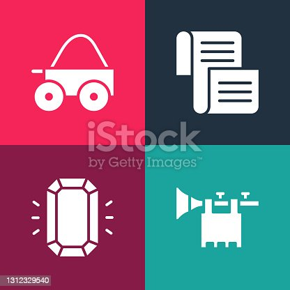 istock Set pop art Trumpet with flag, Diamond, Decree, parchment, scroll and Wooden four-wheel cart icon. Vector 1312329540
