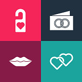 istock Set pop art Two Linked Hearts, Smiling lips, Greeting card and Please do not disturb icon. Vector 1315237492