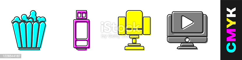 Set Popcorn in box, USB flash drive, Director movie chair and Online play video icon. Vector