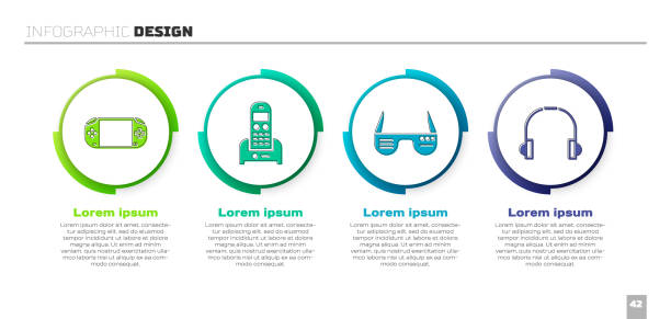Set Portable video game console, Telephone, Smart glasses and Headphones. Business infographic template. Vector Set Portable video game console, Telephone, Smart glasses and Headphones. Business infographic template. Vector switchboard operator vintage stock illustrations