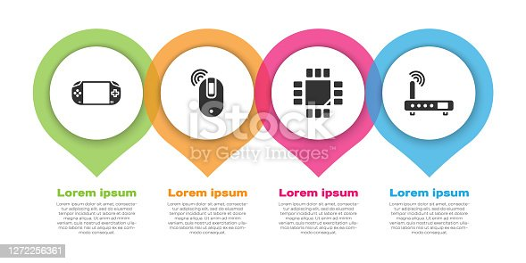 istock Set Portable video game console, Wireless computer mouse, Processor with microcircuits CPU and Router and wi-fi signal. Business infographic template. Vector 1272256361
