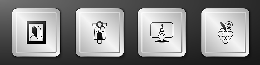 Set Portrait picture in museum, Scooter, Eiffel tower and Grape fruit icon. Silver square button. Vector