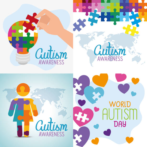 set poster of world autism day with decoration vector art illustration
