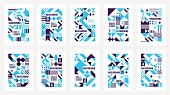Scandinavian Poster Colorful Background Decorative Wallpaper with geometric Bold Editable Simple Block in Bright Color