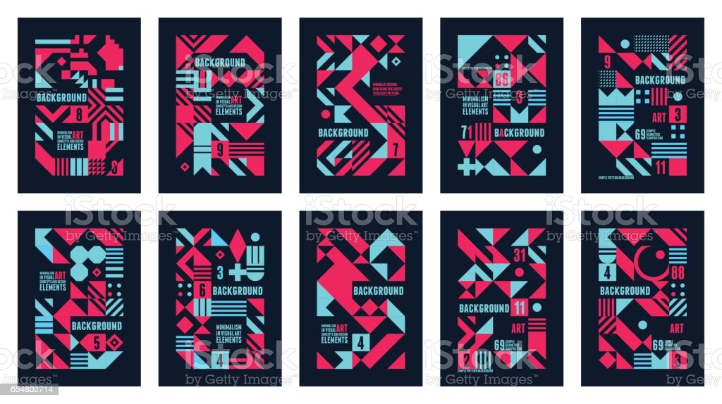 Set Posters Colorful vector art illustration