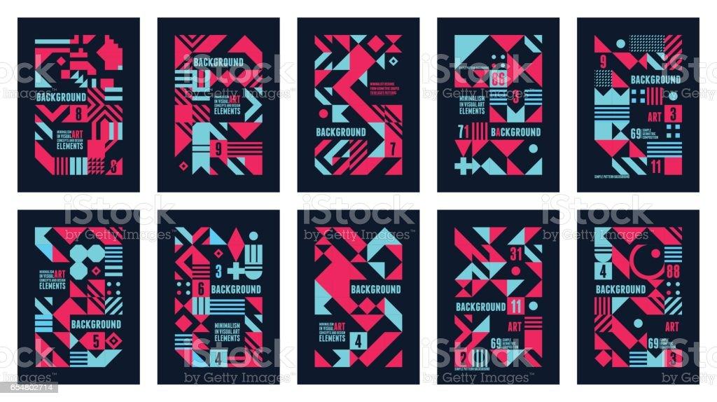 Colorido sets carteles - ilustración de arte vectorial