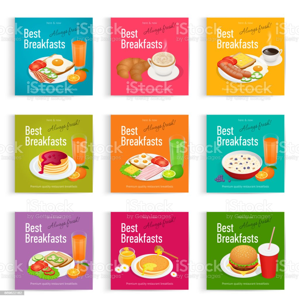 Set posters of Always fresh and delicious breakfast. Healthy food concept. Menu poster design. vector art illustration
