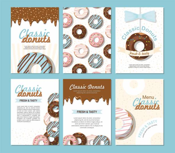 Set posters vector template with donuts. Sweet background. For bakery shop or cafe. Set posters vector template with donuts. Sweet background. Advertising for bakery shop or cafe. cake backgrounds stock illustrations
