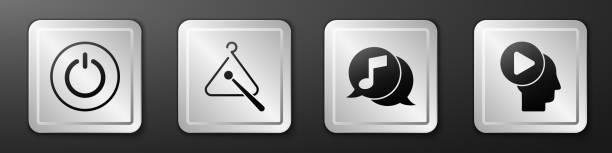 bildbanksillustrationer, clip art samt tecknat material och ikoner med set power-knappen, triangle musikinstrument, musiknot i talbubbla och head människor med spela knappen ikonen. silver fyrkantig knapp. vektor - triangel slagverksinstrument