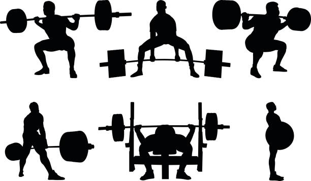 Set powerlifting vector art illustration