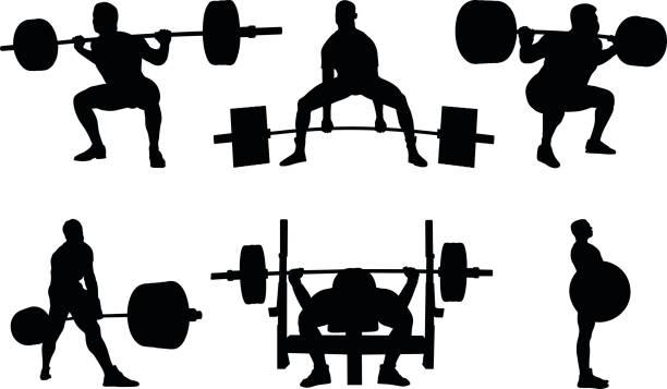 illustrazioni stock, clip art, cartoni animati e icone di tendenza di set powerlifting - pesistica
