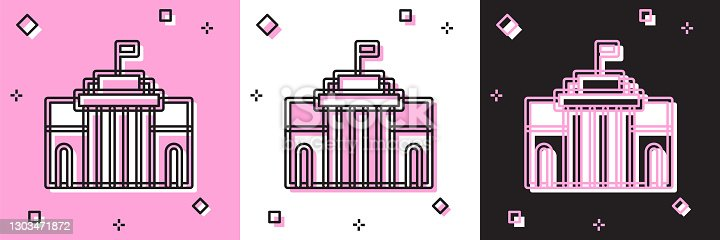 istock Set Prado museum icon isolated on pink and white, black background. Madrid, Spain. Vector 1303471872