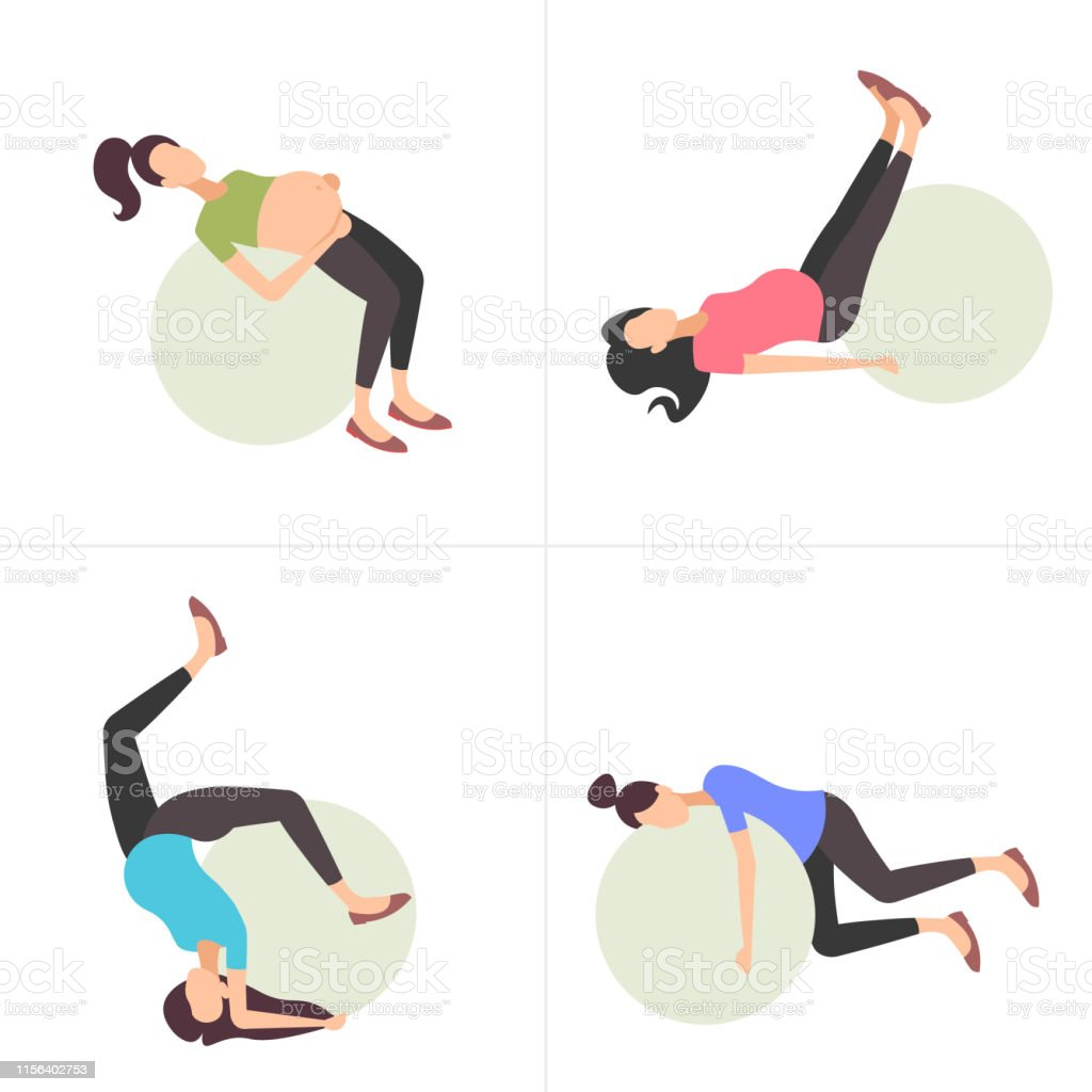 Set Pregnant Woman On Gymnastic Ball Girl Doing Exercises With Fitball Collection Workout Fitness Pregnancy Healthy Lifestyle Concept Full Length Flat Stock Illustration Download Image Now Istock