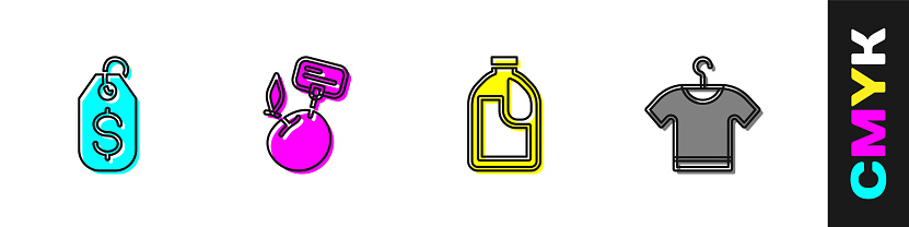 Set Price tag with dollar, Supermarket food products price label, Bottle for cleaning agent and T-shirt icon. Vector
