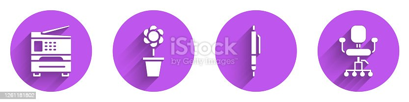 Set Printer, Flower in pot, Pen and Office chair icon with long shadow. Vector
