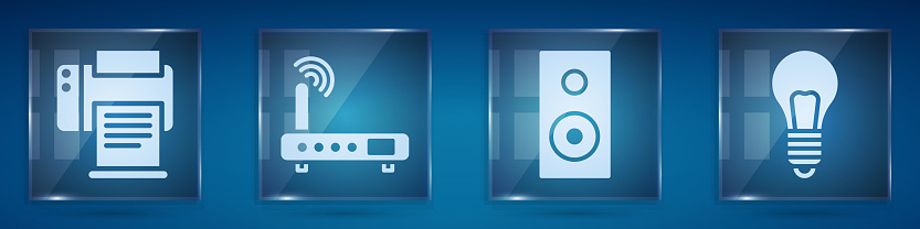 Set Printer, Router and wi-fi signal, Stereo speaker and Light bulb with concept of idea. Square glass panels. Vector