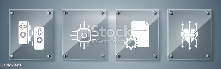 Set Processor, File document, Processor and Gamepad. Square glass panels. Vector