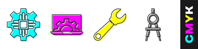 Set Processor, Laptop and gear, Wrench spanner and Drawing compass icon. Vector