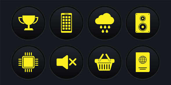 Set Processor with CPU, Stereo speaker, Speaker mute, Shopping basket, Cloud rain and Mobile Apps icon. Vector